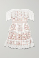 Thumbnail for your product : Self-Portrait Off-the-shoulder Guipure Lace Mini Dress - Ivory