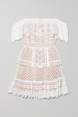 Self-Portrait Self Portrait Off-the-shoulder Guipure Lace Mini Dress - Ivory