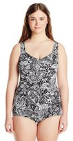Maxine Of Hollywood Women's Plus-Size Patchwork Paisley Swimsuit