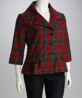 Live A Little Red Plaid Portrait Notch Collar Wool-Blend Jacket - Plus