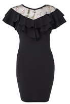 Quiz Black Embroidered Mesh Frill Bodycon Dress