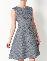 John Lewis Fit And Flare Textured Dress, Blue