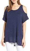 Bobeau Women's Cold Shoulder Slub Knit Tee