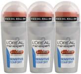 L'Oreal Paris Men Expert Sensitive Comfort Deodorant Roll-On (50ml) Trio