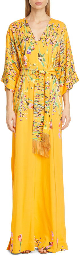 Lela Rose Wildflower Print Belted Stretch Crepe Maxi Dress