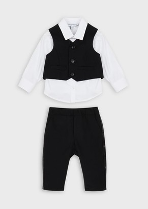 Emporio Armani Outfit With Shirt, Waistcoat And Trousers