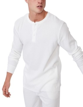 Cotton On Men's Henley Waffle Long Sleeve T-shirt
