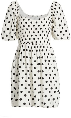 Faithfull The Brand Ilaria Polka Dot Puff-Sleeve Mini Dress