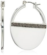 """Kenneth Cole New York Flat Mate"""" Pave Silver Hoop Earring"""