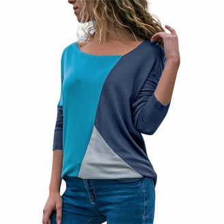 VECDY Fashion Trend Women's Casual Atmosphere Patchwork Color Block O-Neck Simple Long-Sleeved T-Shirt Top Navy