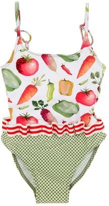 Vegetable Print Lycra One Piece Swimsuit