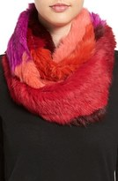 Jocelyn Women's Colorblock Genuine Rabbit Fur Infinity Scarf