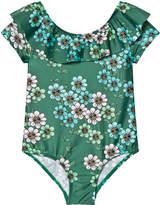 Mini Rodini Dark Green Daisy Swimsuit