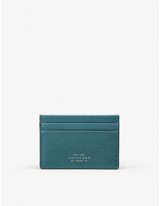 Smythson Panama cross-grain leather card wallet