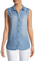 Velvet Heart Desi Sleeveless Chambray Button-Front Blouse