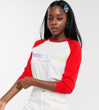 Reclaimed Vintage inspired long sleeve raglan t-shirt with rainbow logo print in white
