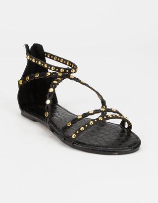 Qupid Studded Womens Black Gladiator Sandals