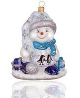 Joy To The World Penguin Family Snowman Glass Ornament