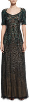 Pamella Roland Sequined Chiffon Evening Gown, Green/Black