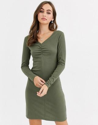Pimkie ruch front jersey mini dress in khaki-Green