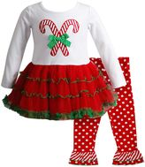 Youngland Baby Girl Candy Cane Top & Leggings Set