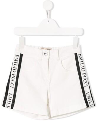 Emilio Pucci Junior Logo Tape Denim Shorts