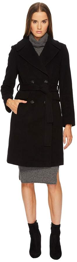 Diane von Furstenberg Double Breasted Tie Waist Wool Coat Women's Coat