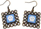 "Wedgwood Brass & Blue Jasperware Earrings ""Dutch Ship"""