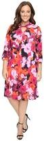 London Times Plus Size Fleur Blur Twist Neck Fit & Flare Dress
