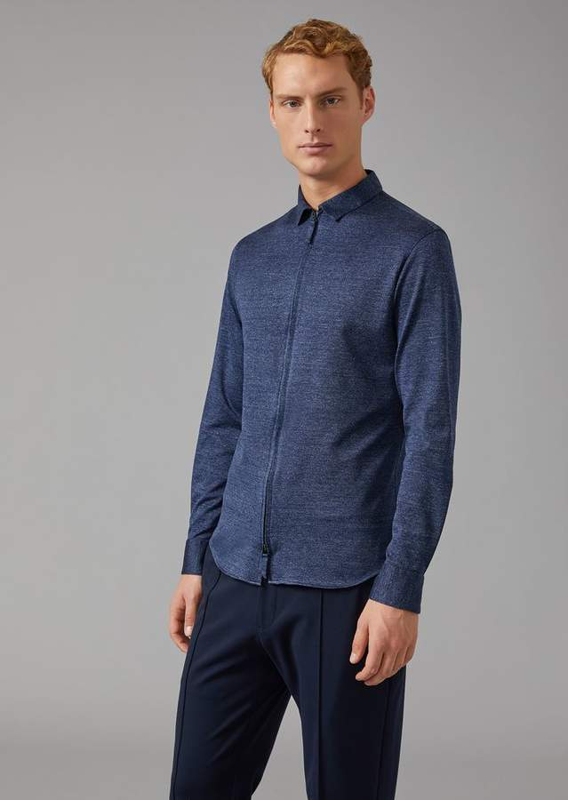 Giorgio Armani Cotton-Blend Shirt With Zip