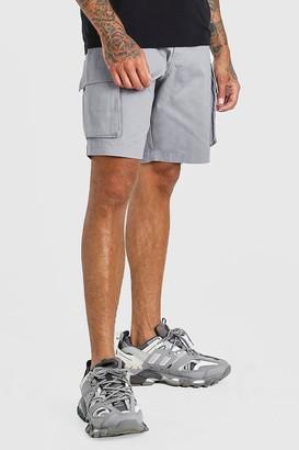 boohoo Mens Grey Elastic Waist Cargo Short, Grey