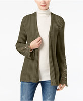 INC International Concepts Ribbed Crochet-Lace Cardigan, Created for Macy's