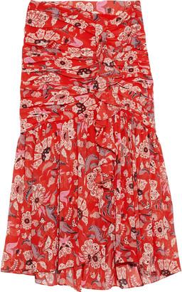 Cinq à Sept Kathleen Ruched Floral-print Georgette Skirt