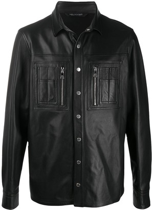 Neil Barrett Leather Panelled Shirt Jacket