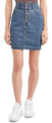 Wax Denim Juniors' Wax Exposed Button Denim Pencil Skirt
