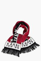 boohoo Mens Oversized MAN Football Scarf in Red size One Size
