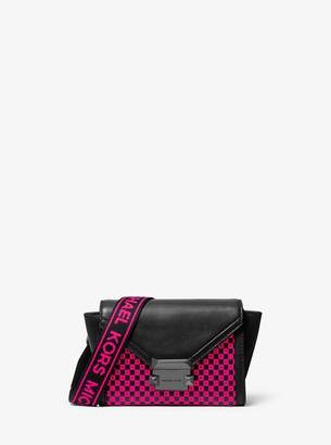 MICHAEL Michael Kors Whitney Mini Neon Checkerboard Logo Leather Convertible Crossbody Bag