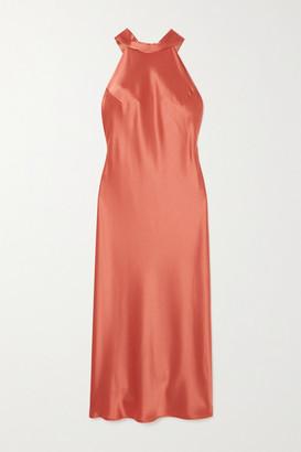 Galvan Sienna Satin Halterneck Midi Dress - Bronze