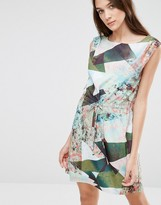 Lavand Soft Geo Print Shift Dress
