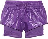 adidas by Stella McCartney Layered Climalite® Shell, Jersey And Mesh Shorts - Purple