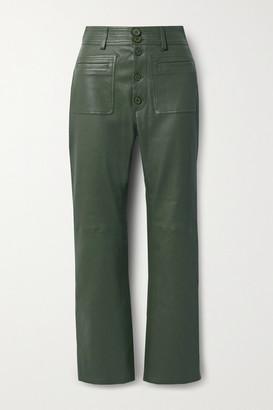 Apiece Apart Marston Leather Straight-leg Pants - Army green