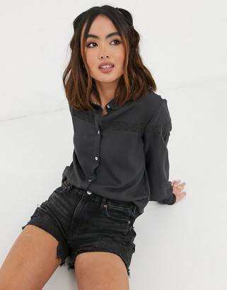 JDY Rosalina long sleeve button through blouse with lace detail in dark grey