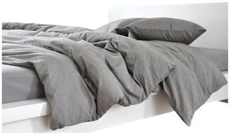 Superior Custom Linens Gray Linen Duvet Cover, Dark Grey Linen, King, 3-Piece Set