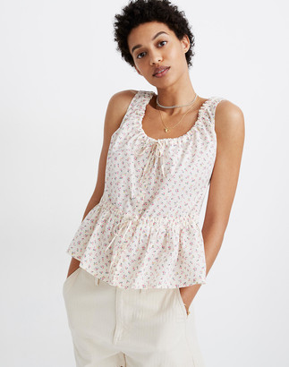 Madewell Shirred Drawstring Tank Top in Bright Buds