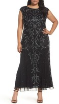 Pisarro Nights Plus Size Women's Godet Inset Embellished Gown