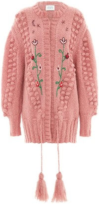 Hayley Menzies Gloria Mohair Midi Cardigan Rose