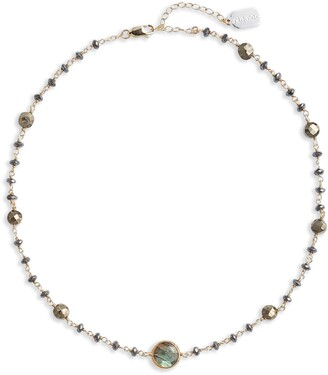 ela rae Diana Semiprecious Stone Coin Necklace