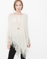 White House Black Market Shimmer Fringe Poncho Sweater