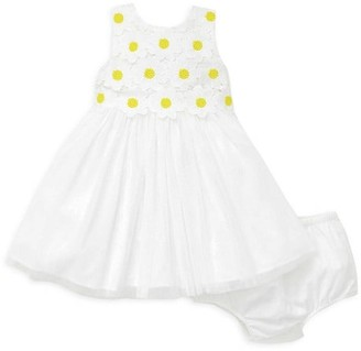 Little Me Little Girl's 2-Piece Daisy Lace Dress Bloomers Set