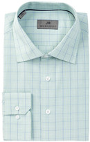 JB Britches Green Plaid Trim Fit Dress Shirt